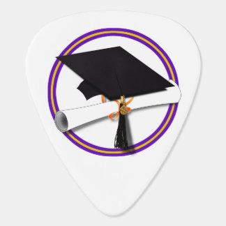 Grad Cap w/Diploma - School Colors Purple & Gold Plectrum