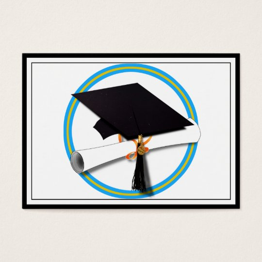 Grad Cap w/Diploma - School Colours Gold & Lt Blue Business Card