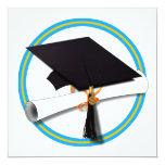 Grad Cap w/Diploma - School Colours Gold & Lt Blue 13 Cm X 13 Cm Square Invitation Card