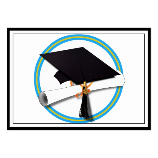 Grad Cap w/Diploma - School Colours Gold & Lt Blue Pack Of Chubby Business Cards