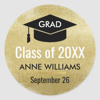 grad class of 20XX with name and black hat Classic Round Sticker