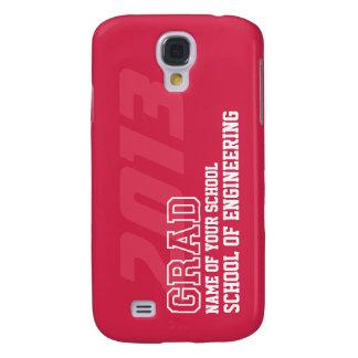 GRAD crimson red white school year name graduation Galaxy S4 Case