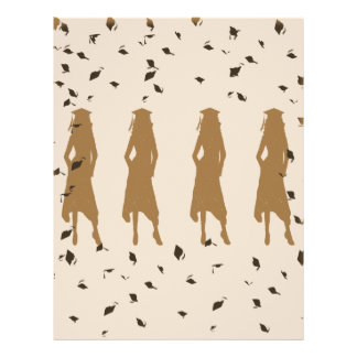 Grad Female Silhouettes Tan and Black 21.5 Cm X 28 Cm Flyer