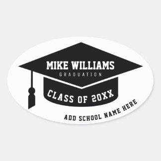 grad / graduate / graduation black & white oval sticker