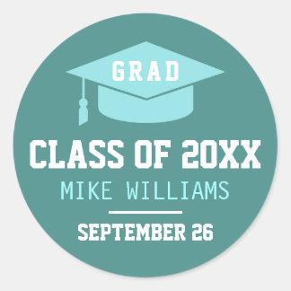 grad / graduate / graduation bluish classic round sticker