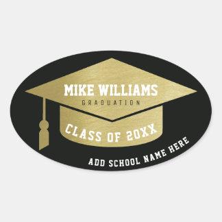 grad / graduate / graduation faux gold / black oval sticker