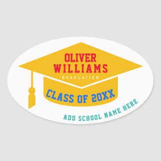 grad / graduate / graduation modern color oval sticker