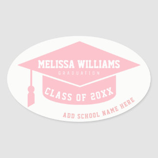 grad / graduate / graduation pale pink oval sticker