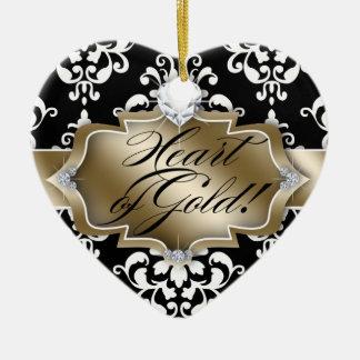 Grad Graduation Photo Picture Damask Heart of Gold Ceramic Heart Decoration