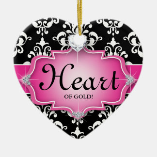 Grad Graduation Photo Picture Damask Heart of Gold Double-Sided Heart Ceramic Christmas Ornament