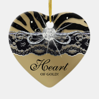 Grad Graduation Photo Picture Lace Zebra Gold Ceramic Heart Decoration