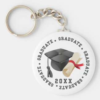 Grad Hat and Degree Key Ring Basic Round Button Key Ring