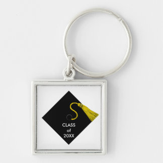 Grad Keepsake Silver-Colored Square Key Ring