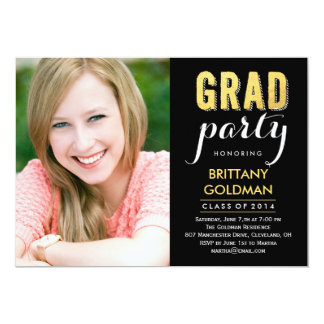 "Grad Party Graduation Invitation - Black 5"" X 7"" Invitation Card"