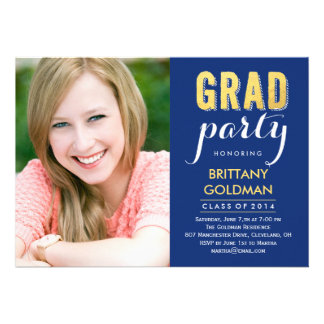 Grad Party Graduation Invitation - Blue Custom Invitation