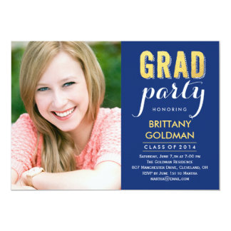 "Grad Party Graduation Invitation - Blue 5"" X 7"" Invitation Card"