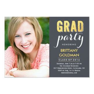 "Grad Party Graduation Invitation - Gray 5"" X 7"" Invitation Card"