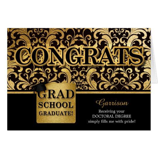 Grad School Graduate - Custom Name Faux Gold Foil Card