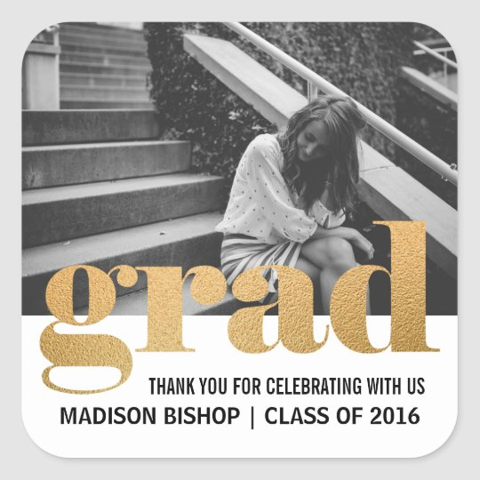 Grad Typography Faux Gold Foil Thank You Photo