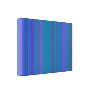 Gradation Stripes Blue Stretched Canvas Print