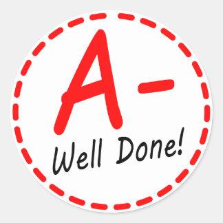 Grade A minus Well Done sticker