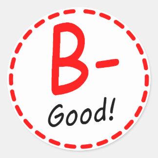 Grade B minus good Round Stickers