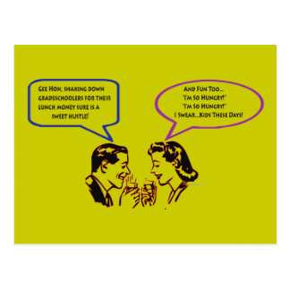 Grade School Shakedown Recession Humor Postcards