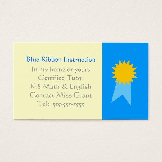 Grade School Tutor Blue Ribbon Template Business Card