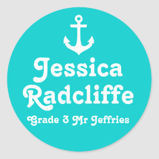 Grader school education name anchor id sticker