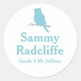 Grader school education name owl id sticker