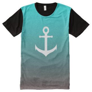 Gradient aqua red   white anchor All-Over print T-Shirt