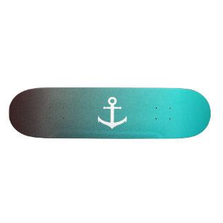 Gradient aqua red   white anchor custom skateboard