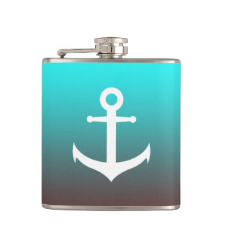 Gradient aqua red | white anchor hip flask