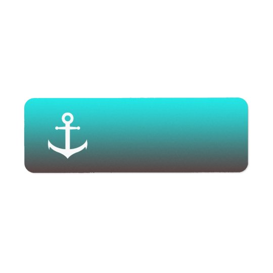 Gradient aqua red | white anchor return address label