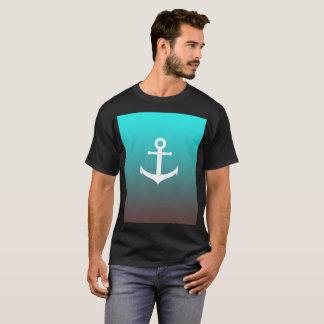 Gradient aqua red   white anchor T-Shirt