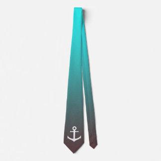 Gradient aqua red | white anchor tie