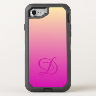 Gradient background pink yellow OtterBox defender iPhone 8/7 case