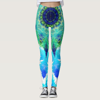 Gradient Blue Mandala Leggings