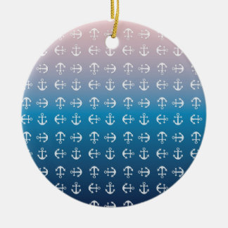 Gradient blue pink | nautical anchor pattern christmas ornament