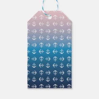 Gradient blue pink | nautical anchor pattern gift tags