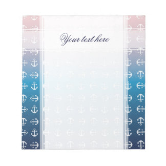 Gradient blue pink | nautical anchor pattern notepad