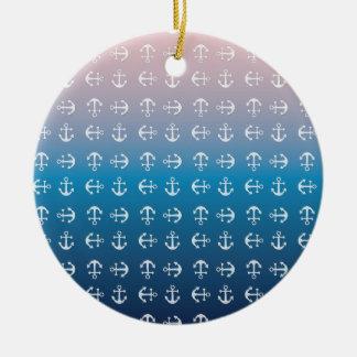 Gradient blue pink | nautical anchor pattern round ceramic decoration