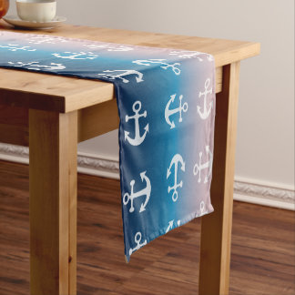 Gradient blue pink | nautical anchor pattern short table runner