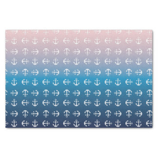 Gradient blue pink | nautical anchor pattern tissue paper