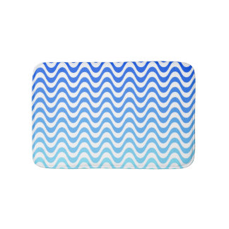Gradient Blue Waves Bath Mat