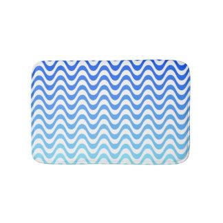 Gradient Blue Waves Bath Mats