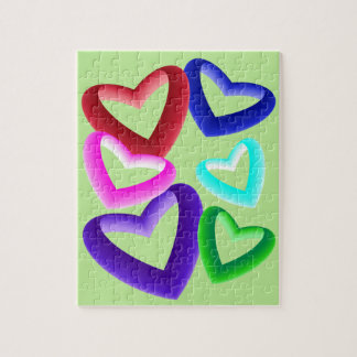 Gradient Colored Hearts Jigsaw Puzzle