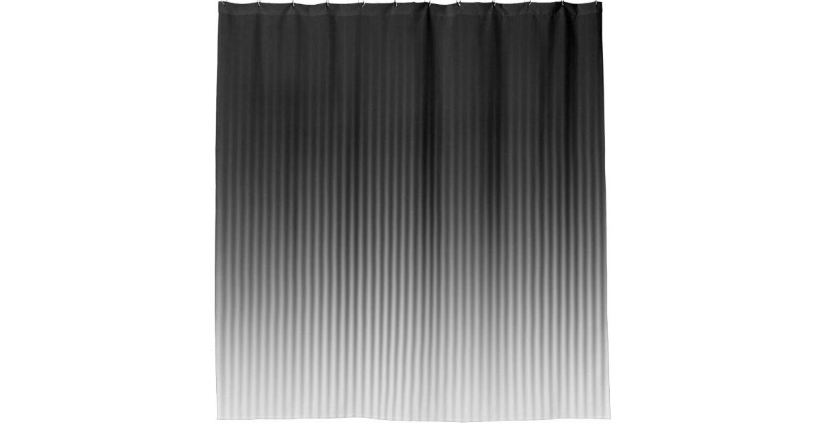 Gradient Cool Stylish Trendy Black White Stripes Shower Curtain
