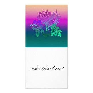 gradient flowers, aqua photo greeting card