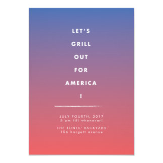 Gradient Fourth of July Cookout Invitation Card